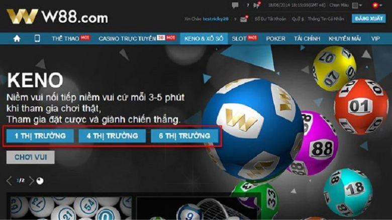 Hướng dẫn chơi game Keno trực tuyến tại W88